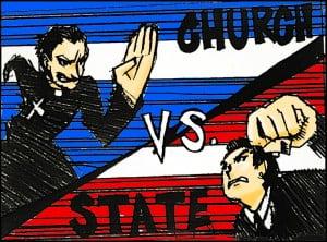 Political Cartoon of Prayer in Public Schools
