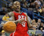 <p>Atlanta Hawks' gaurd Jeff Teague loses the ball Sunday during the second half of Atlanta's 94-72 win over the New Orleans Hornets in New Orleans.</p>