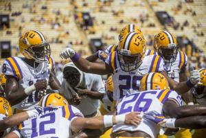 <p>LSU junior safety Rickey Jefferson (29) leads the chant in the deffensive huddle during the Tigers' 45-21 victory against Auburn on Saturday, Sept. 19, 2015 in Tiger Stadium</p>