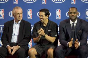 LeBron James, Erik Spoelstra, Pat Riley