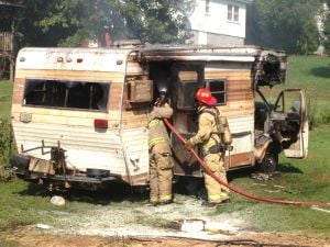 Man escapes from burning RV