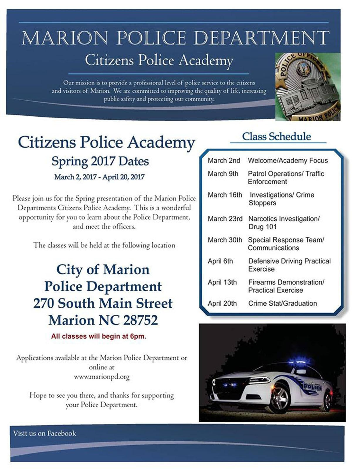 Citizen's Police Academy: Program to inform, educate Marion public