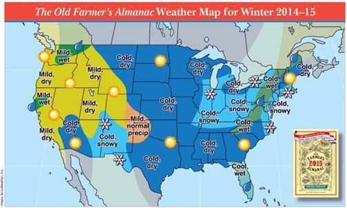 Predictions mixed for winter 2014 2015 message media news for Farmers almanac fishing report
