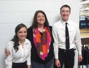 Rhiannon Kunesh, speech coach Alicia Laughery and Logan Anderson