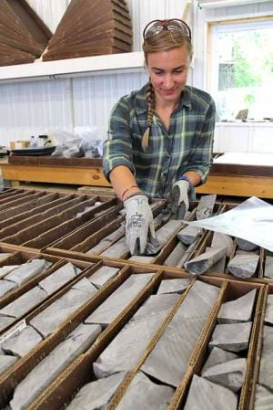 Jena Long, geologist, sorts and catalogs bore samples.
