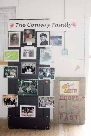 Michele Plagman created this door display to showcase the history of her family.