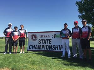 <p>The Minico Spartan golf team, left to right, Coach Brenner Antone, Peyton Orr, Matthew Gibson, Chance Moseley, Gage Skaggs and Joey Gibson brought a third place finish home from the 4A State tournament in Kuna May 16-17.</p>