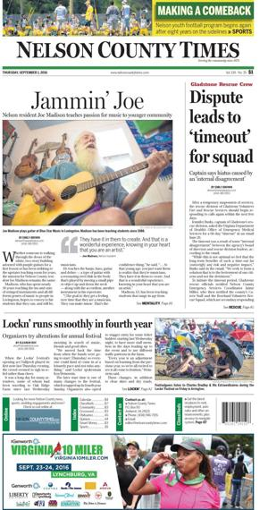 Front page of Nelson County Times for Sept. 1, 2016
