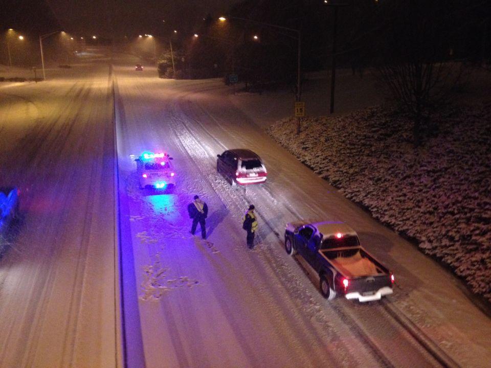 Snow coats area roads