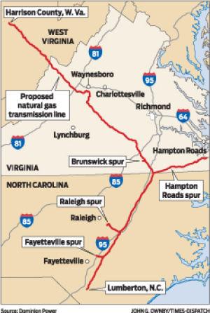 Proposed Dominion Pipeline Map