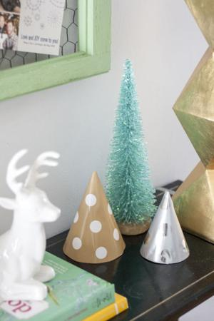 DIY holiday decor - paper hat tabletop trees