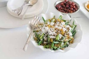 Asparagus and haricots verts with goat cheese and pine nuts