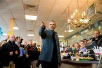 <p>President Barack Obama speaks during a visit to the Snow City Cafe in Anchorage, Alaska, Tuesday, Sept. 1, 2015. Obama is on a historic three-day trip to Alaska aimed at showing solidarity with a state often overlooked by Washington, while using its glorious but changing landscape as an urgent call to action on climate change. (AP Photo/Andrew Harnik)</p>