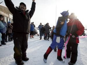 Tanana turns out to cheer Stickman on suicide awareness trek