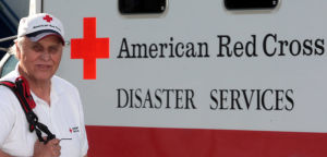 Red Cross volunteer helping counsel wildfire survivors in Montana