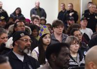 <p>A large crowd turned out to listen during the Community/Neighborhood Watch meeting at teh JPJones Community Center Tuesday evening, March 3, 2015.</p>