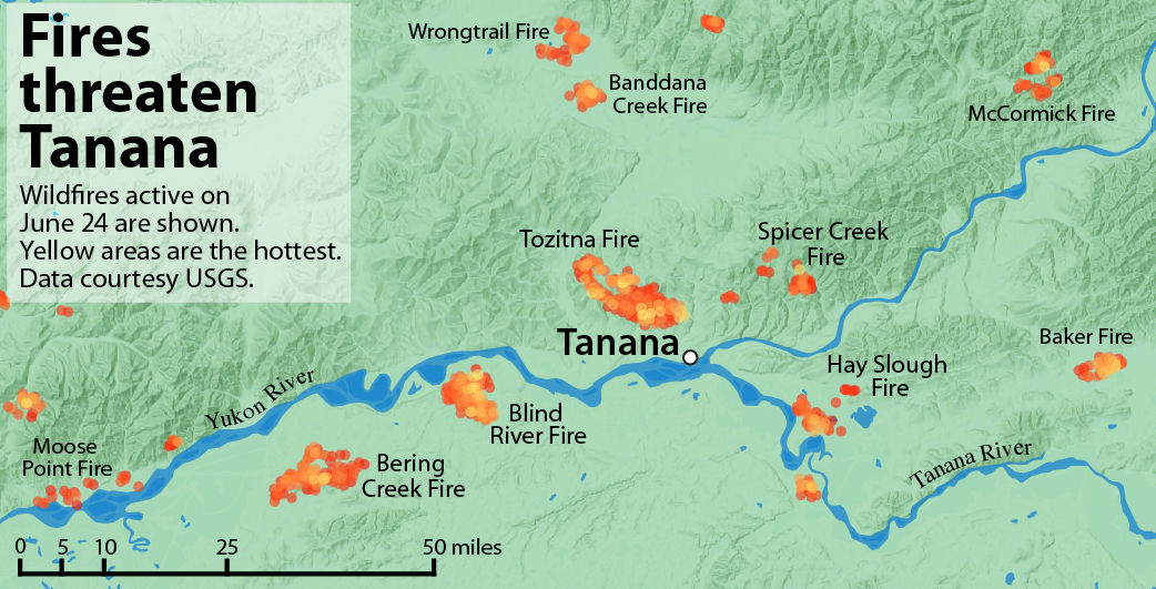 Fires burning in every direction threaten village of Tanana