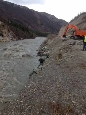 Crews repair Parks Highway erosion; work on Alaska Railroad continues