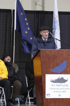 UAF research vessel Sikuliaq launches in Wisconsin