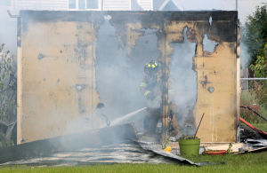 Fire destroys downtown Fairbanks shed, lawn equipment