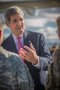 "<p class=""p1"">Secretary of State John Kerry speaks with state and military officials at Joint Base Elmendorf-Richardson on Sunday afternoon. </p>"