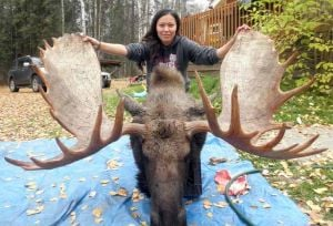 Fairbanks woman bags big bull moose on her birthday