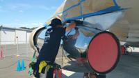 <p>North Pole auto detailer Alex Dublin recently returned from a trip to Seattle where he worked with a team of detailers from across the country detailing Air Force One. Here he works on the chrome of the airplane.</p>