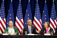 <p>President Barack Obama, center, accompanied by President of the Association of Village Council Presidents Myron Naneng, left, and Kawerak, Inc. President and CEO Melanie Bahnke, right, participates in a roundtable at the Dena'ina Civic and Convention Center, Monday, Aug. 31, 2015, in Anchorage, Alaska. Obama opened a historic three-day trip to Alaska aimed at showing solidarity with a state often overlooked by Washington, while using its glorious but changing landscape as an urgent call to action on climate change. (AP Photo/Andrew Harnik)</p>