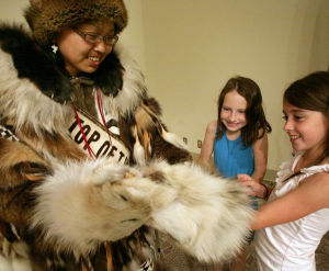 Fairbanks library hosts meet-and-greet with Miss World Eskimo-Indian Olympics contestants