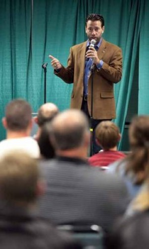 Alaska U.S. Senate candidate Joe Miller explains his positions at Fairbanks town hall meeting