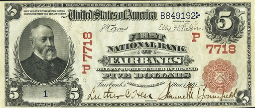 Century-old $5 Alaska bill sells for nearly $247,000