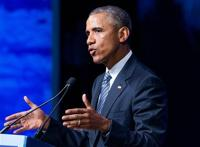<p>President Barack Obama speaks at the Global Leadership in the Arctic: Cooperation, Innovation, Engagement and Resilience (GLACIER) Conference at Dena'ina Civic and Convention Center in Anchorage, Alaska, Monday, Aug. 31, 2015. Obama opened a historic three-day trip to Alaska aimed at showing solidarity with a state often overlooked by Washington, while using its changing landscape as an urgent call to action on climate change. (AP Photo/Andrew Harnik)</p>