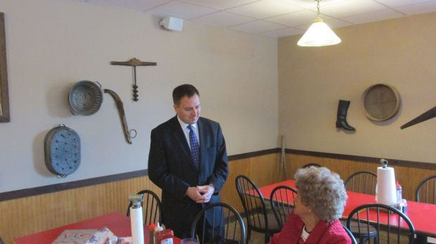 <p><!--p:IMU Image Cutline Caption-->Jay Ashcroft, a Republican primary candidate for Missouri Secretary of State in 2016, speaks to Jeraldine Smith of DeKalb, Mo., on Thursday night at Bandana's Bar-B-Q, 4225 Frederick Blvd.<!--p:IMU Image Cutline Caption--></p>