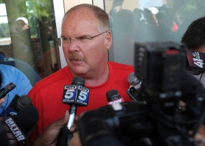 130723_chiefs_reid_tw: Kansas City Chiefs head coach Andy Reid addresses the media Monday afternoon on the Missouri western State University campus as rookies and quarterbacks arrive for the start of training camp. - Todd Weddle | St. Joseph News-Press