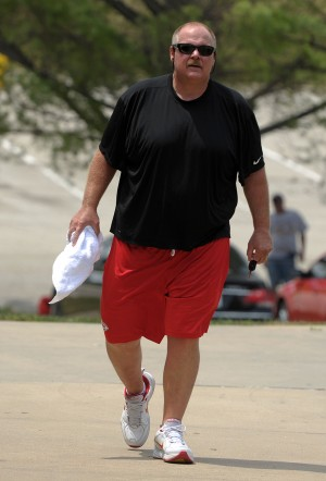 130723_chiefsarrive10: Kansas City Chiefs head coach Andy Reid approaches the players' dormitories Monday afternoon as personnel began reporting for the Chiefs training camp. - Todd WeddleSt. Joseph News-Press