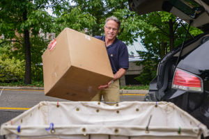 <p>Parents and family members help students move into their new dorm rooms Thursday afternoon.</p>