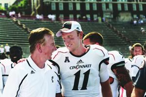 UC head coach Tommy Tuberville and Quarterback Brendon Kay