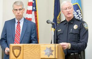 <p><strong>LANCASTER COUNTY</strong> Attorney Joe Kelly and Lincoln Police Chief Jim Peschong during a press conference Wednesday morning. No charges will be filed following an alleged rape at the home of Nebraska quarterback Tommy Armstrong and receiver Jordan Westerkamp.</p>