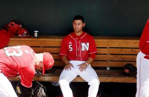 <p>Nebraska's Steven Reveles (5) sits on the bench after the Huskers' loss to Indiana on Thursday during the Big Ten tournament at TD Ameritrade Park in Omaha. The Huskers are hoping for an NCAA regional bid.</p>