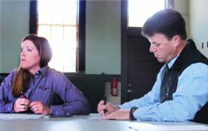 <p>David Williams, right, chairman of the Development Authority of Polk County, and DAPC president Rachel Rowell discuss progress on the spec building and plans to develop a new project in Rockmart.</p>