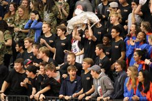 <p>Darlington students in Summerbell House react during the varsity boys' basketball game Friday, Jan. 13, 2017, at the school's Huffman Center during Rumpus 2017. (Jeremy Stewart/RN-T.com)</p>