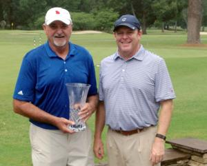 <p>2016 Coosa Invitational Senior Champion Larry Clark (left) with Coosa Country Club PGA Head Golf Professional Brian Albertson. The invitational golf tournament was played Saturday and Sunday at Coosa Country Club. (Contributed photo)</p>