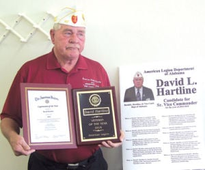 <p>Local Vietnam Veteran, author and State American Legion Leader David Hartline was recently honored as Veteran of the Year and Legionaire of the Year by the Alabama American Legion. Hartline, who currently services as senior vice commander, Alabama American Legion, will move up to state commander next year.</p>