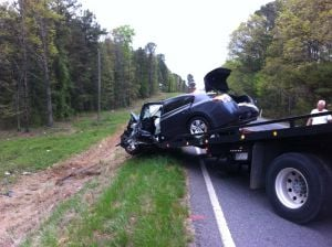 <p>Several people were injured in a wreck on Rockmart Highway this morning involving a Nissan Altima and a small pickup truck. (Doug Walker, RN-T)</p>