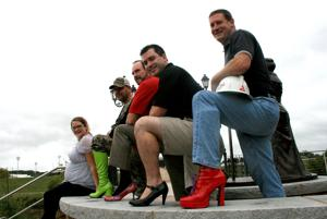 <p>Moriah Medina, from left, Mark Harrison, Robert Smyth, Chris Forino and Jeff Gilbert will be among the hundreds of participants in this year's Walk a Mile in Her Shoes event to raise awareness for domestic violence and to support the Hospitality House of Rome. The walk, which takes place Oct. 16 is open to all community members. Men are encouraged, but not required, to wear women's shoes.</p>