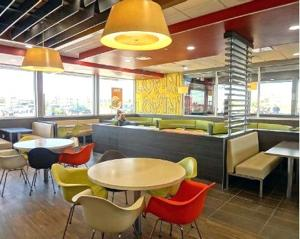 <p>A McDonald's restaurant in Laredo, Texas, features wooden floors and muted colors.</p>