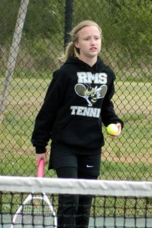<p>Taylor McVey is shown playing for the Rockmart Middle School tennis team. (Contributed photo)</p>