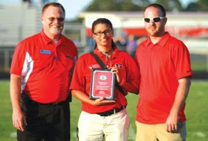 <p>Sonoraville trainer Danykia Perine receives recognition (Larry Greeson, For the Calhoun Times)</p>