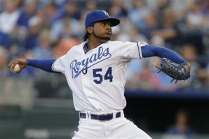 <p>FILE - In this Aug. 20, 2013 file photo, Kansas City Royals starting pitcher Ervin Santana throws during the first inning of a baseball game against the Chicago White Sox, in Kansas City, Mo. The Atlanta Braves have signed Santana to bolster their injury plagued starting rotation. The team announced Wednesday, March 12, 2014, that Santana agreed to a one-year deal. (AP Photo/Charlie Riedel, File)</p>