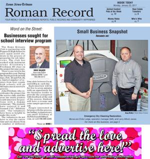 Coming in Monday's Roman Record: Emergency Dry-cleaning Restoration